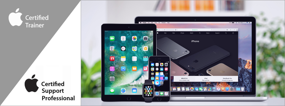 Apple Certified Trainer logo. Apple-Certified Support Professional logo. Apple MacBook Pro Retina with macOS Sierra and open tab in Safari browser, iPhone 7 and iPad Pro with iOS 10 on the displays and Apple Watch on the office desk.