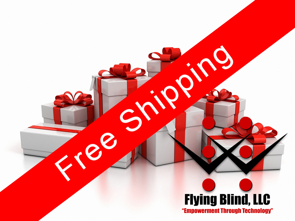 In the background, seven beautifully wrapped presents of different sizes each held together by a large red bow. Running diagonally across the front of these presents is a large red ribbon that reads 'Free Shipping'. In the lower right corner is the Flying Blind, LLC logo.
