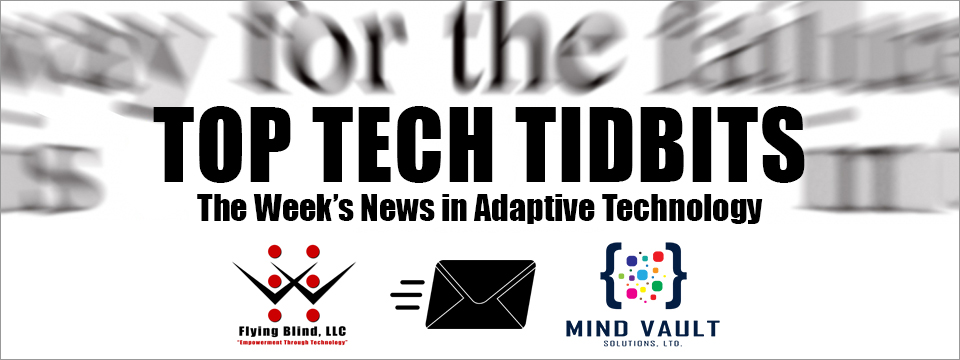 The Top Tech Tidbits Newsletter Header shows the Flying Blind, LLC logo on the left with an envelope moving between it and the Mind Vault Solutions, Ltd. logo on the right.