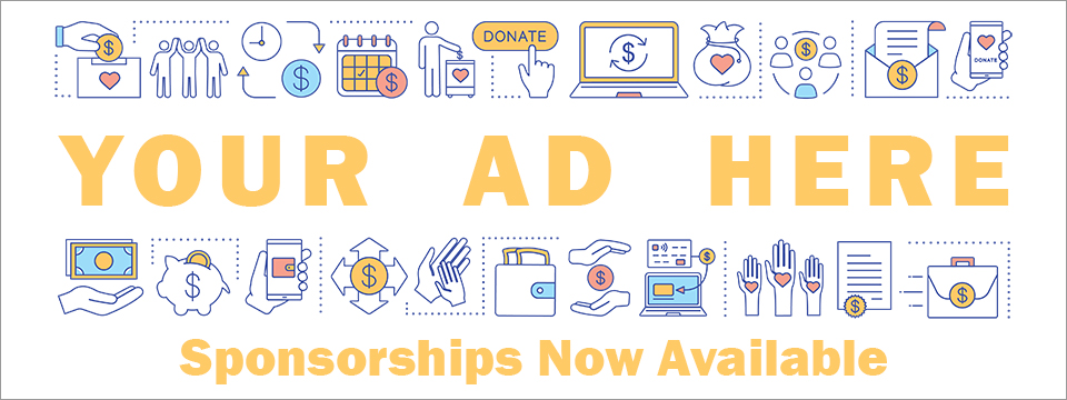 An illustration showcases many different types of products and services. Text in the center reads YOUR AD HERE. Sponsorships Now Available.