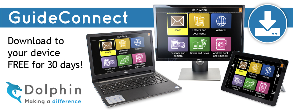 GuideConnect, Download to your device free for 30 days. Picture of a laptop, desktop and tablet displaying GuideConnect.