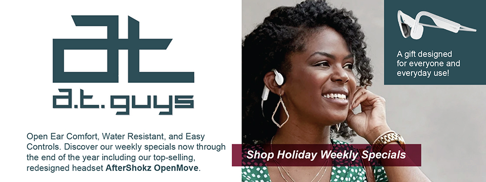 A woman smiling and looking off to the side while wearing the Aftershokz Move headset. Caption: 'A gift designed for everyone and everyday use!'