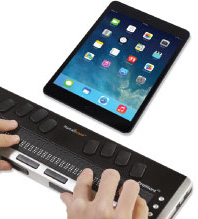 Photo of the Brailliant BI 32-Cell Refreshable Braille Display connecting via Bluetooth to an Apple iPad