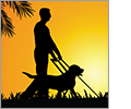 GuideLights And Gadgets logo. The silhouette of a man with a cane in one hand and the harness of a trained guide dog in the other walk together through the grass at sunrise. GuideLights And Gadgets. Personal. Affordable. Responsive. Trusted.
