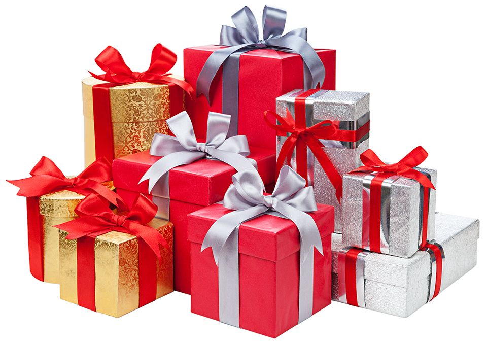 Photo of nine beautifully wrapped presents of different sizes in red, gold and silver. Each is held together by a large red or silver  bow.